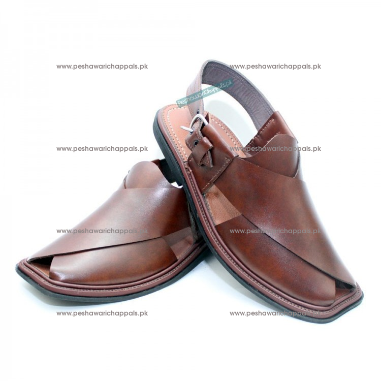 Handmade Brown Charsadda Chappal with Single Sole
