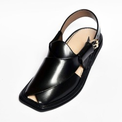 Handmade Charsadda Black Leather Chappal
