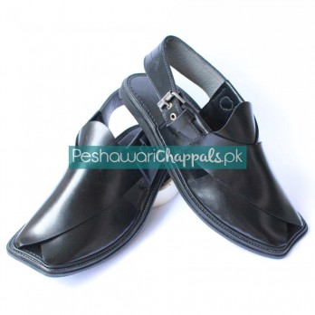Completely Hand Stitched Black Charsadda Chappal