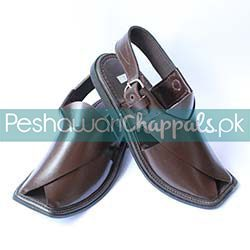 Traditional Hand Stitched Brown Charsadda Chappal