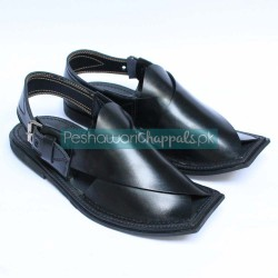Luxurious Hand-Stitched Black Charsadda Chappal
