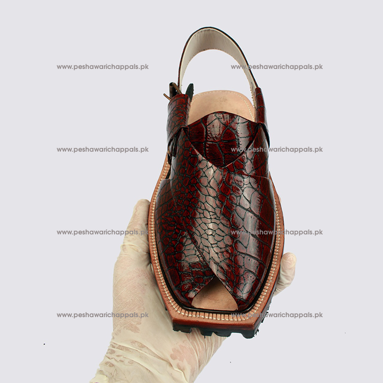 Handmade Maroon Crocodile Leather Norozi Chappal