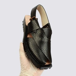 Handmade Black Snake Export Quality Leather Chappal