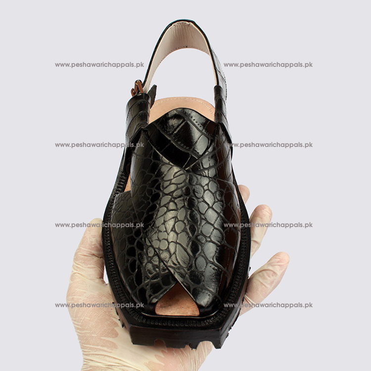 Handmade Black Crocodile Leather Norozi Chappal