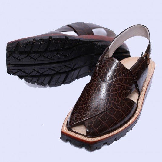Handmade Brown Crocodile Leather Norozi Chappal