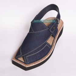 Handmade Blue Jeans Kaptaan Chappal With Light Weight