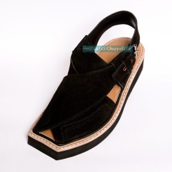 Handmade Black Suede Kaptaan Leather Chappal With Light Weight
