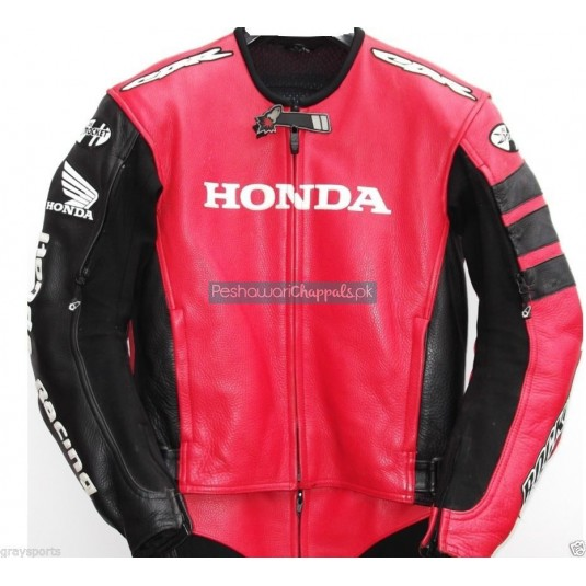 Handmade Honda Red and Black Motorcycle Biker Leather Jacket