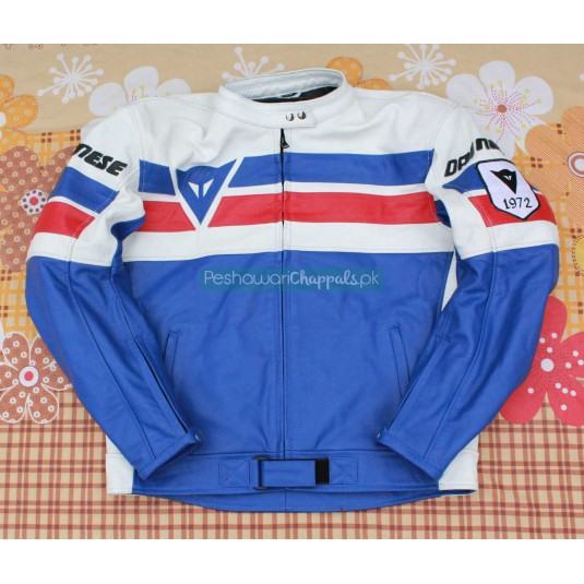 Handmade Blue and White Motorcycle Biker Leather Jacket for Men