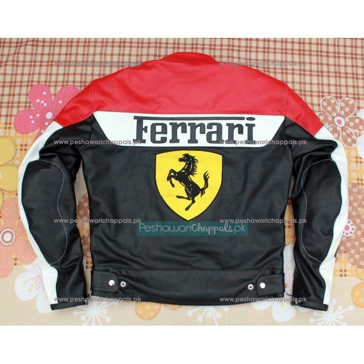Handmade Black and Red Motorcycle Biker Leather Jacket for Men