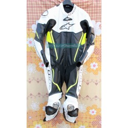 Handmade Black and White Motorcycle Biker Leather Suit for Men