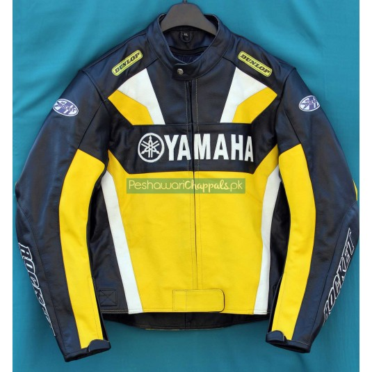 Handmade Yellow and Black Yamaha Motorcycle Biker Leather Jacket