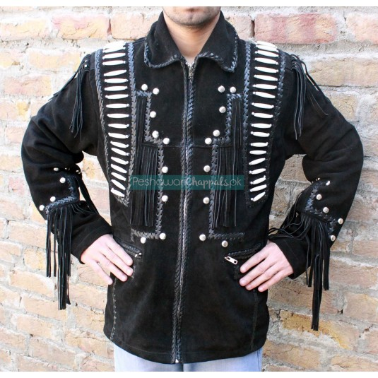 Mens Leather Western Wear Black Suede Leather Jacket Fringe Bead Bones