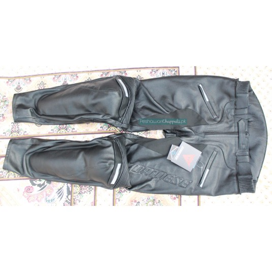 Handmade Black Motorcycle Biker Leather Pants for Men