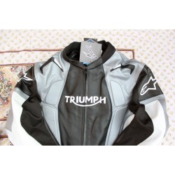 Handmade Black and White Motorcycle Biker Leather Jacket for Men