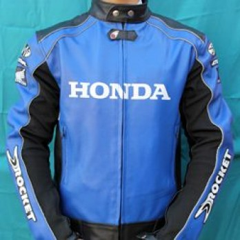 Handmade Blue and Black Honda Motorcycle Biker Leather Jacket