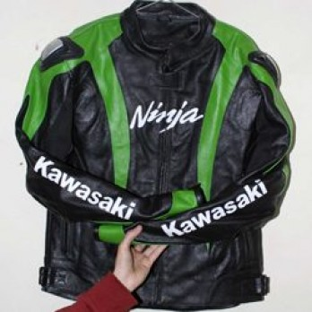 Handmade Kawasaki Motorcycle Biker Ninja Leather Jacket