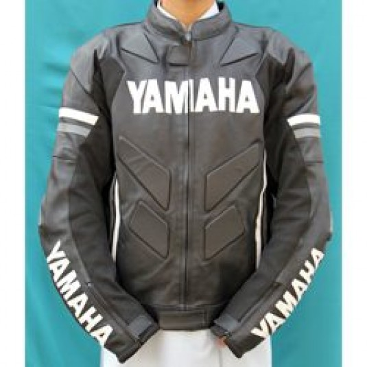Handmade Black Yamaha Motorcycle Biker Leather Jacket
