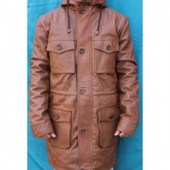 Handmade Leather Hooded Long Coat for Men