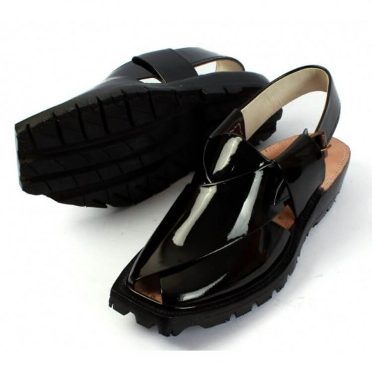 Handmade Black Patent Leather Chappal with Double Sole