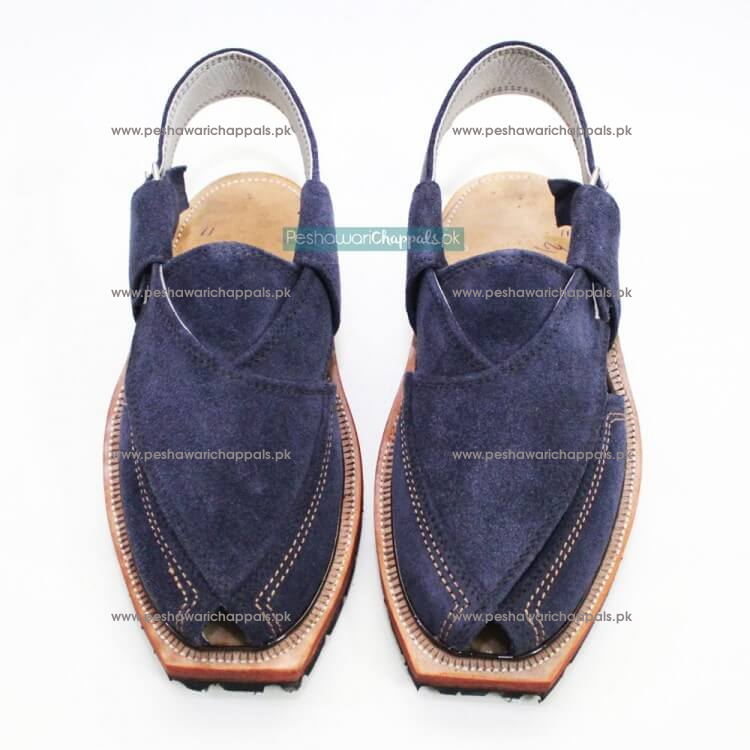 Hand Crafted Blue Suede Quetta Norozi Chappal with Double Sole