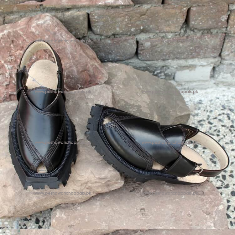 Classic Black Quetta Norozi Shikari Chappal with Double Sole
