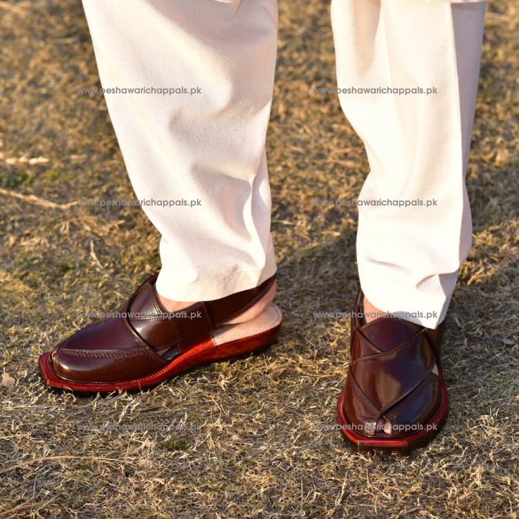 Handmade Brown Norozi Chappal with Double Tire Sole