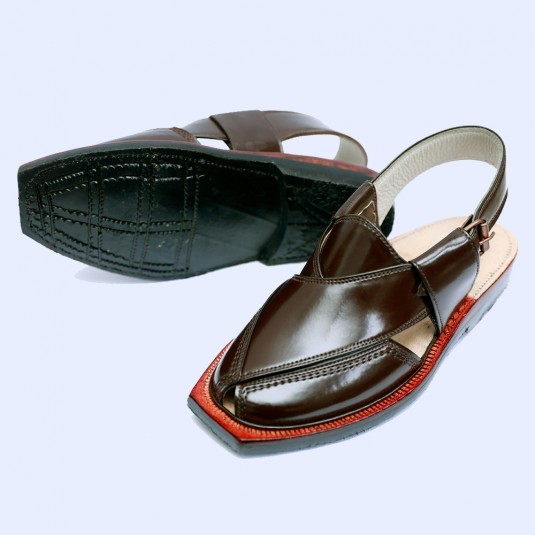 Handmade Brown Quetta Norozi Leather Chappal