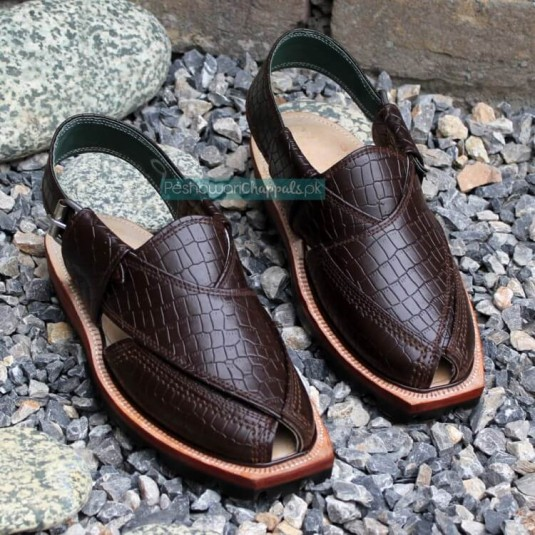 Quetta Norozi Brown Crocodile Leather Chappal