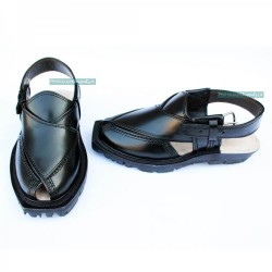 Raven Black Quetta Norozi Chappal with Double Sole