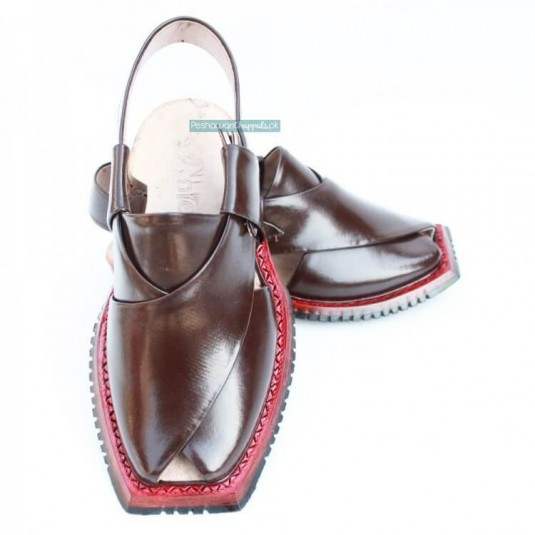 Traditional Handmade Brown Shikari Quetta Chappal with Single Sole
