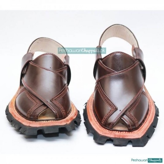 Traditional Quetta Norozi Brown Shikari Chappal with Double Sole