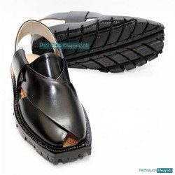 Ultra Black Quetta Norozi Chappal With Double Sole