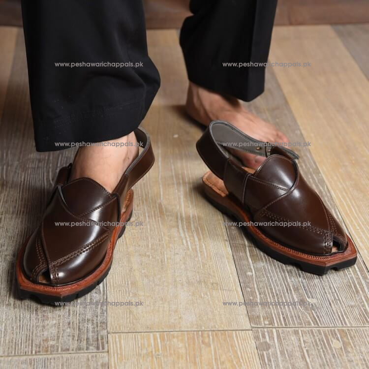 Hand Crafted Brown Quetta Norozi Chappal with Double Sole