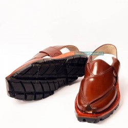 Hand Crafted Mustard Shine Quetta Norozi Chappal with Double Sole