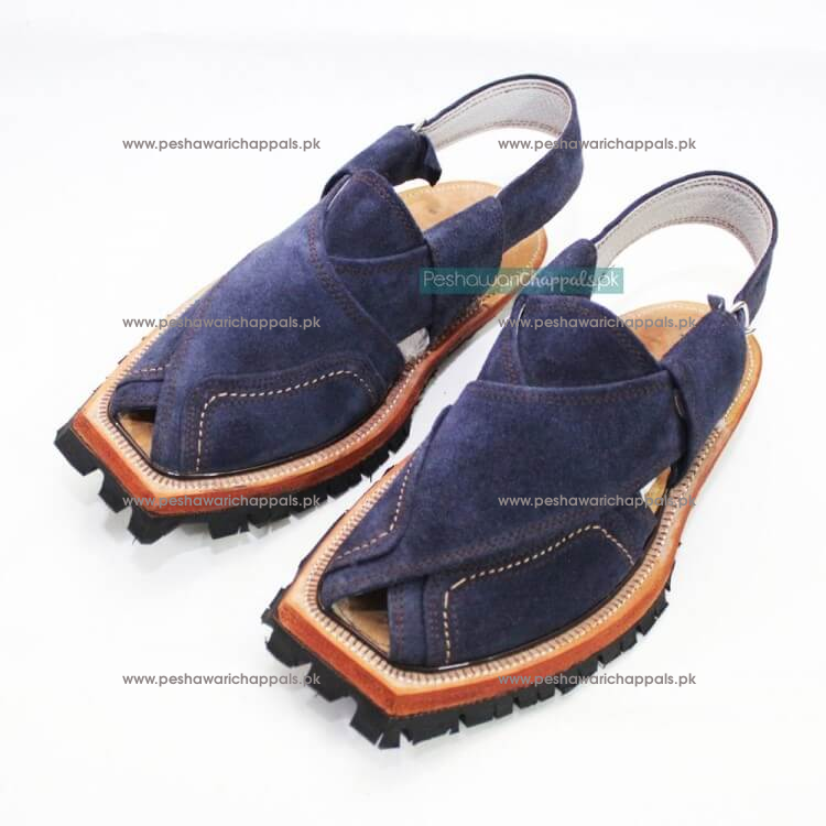 Hand Crafted Blue Suede Shikari Quetta Norozi Chappal