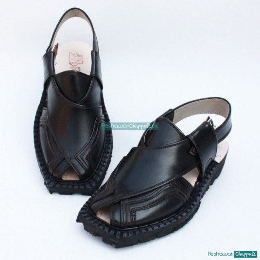 Hand Stitched Quetta Double Sole Black Norozi Chappal