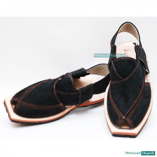 Hand Stitched Suede Quetta Black Norozi Chappal with Double Sole