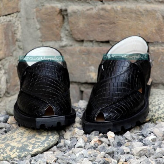 Handmade Black Crocodile Leather Chappal