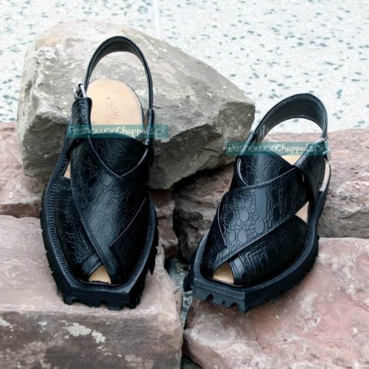 Handmade Black Crocodile Shikari Leather Chappal