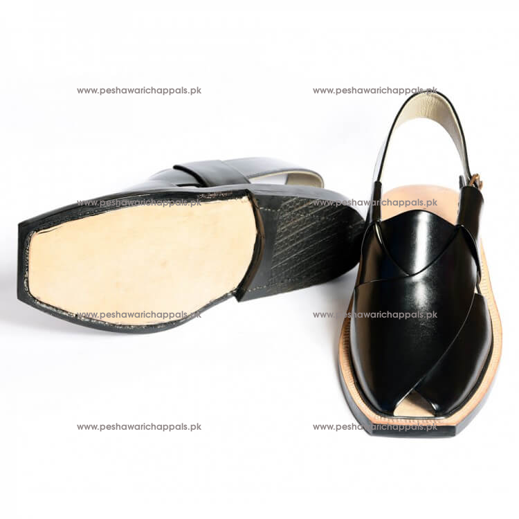 Handmade Black Norozi Leather Chappal with Leather Sole