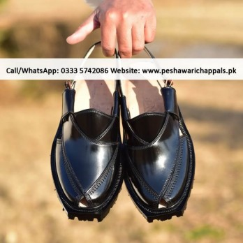 Handmade Black Norozi Chappal with Double Tire Sole