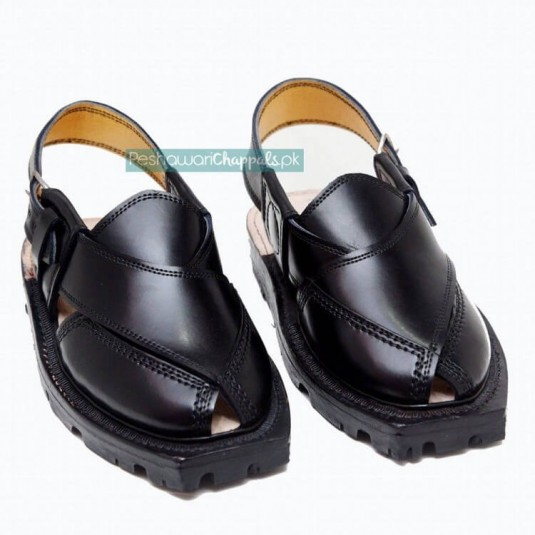 Handmade Black Quetta Norozi Chappal with Double Sole