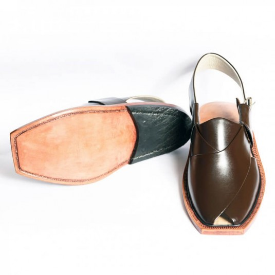 Handmade Brown Norozi Leather Chappal with Leather Sole