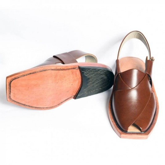 Handmade Mustard Norozi Leather Chappal with Leather Sole
