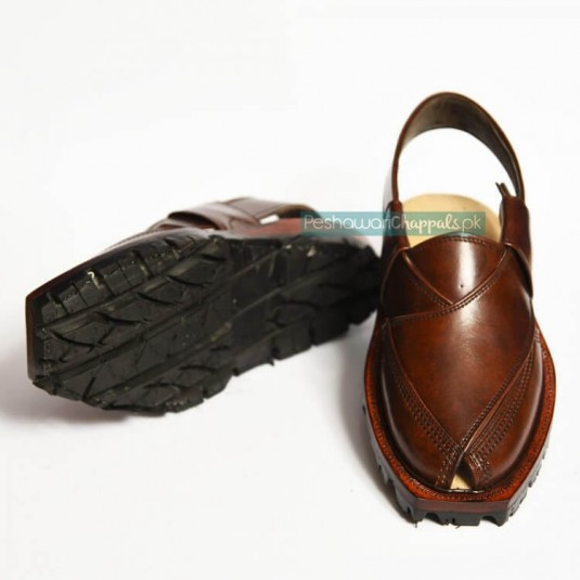 Mustard Quetta Norozi Leather Chappal with Double Sole