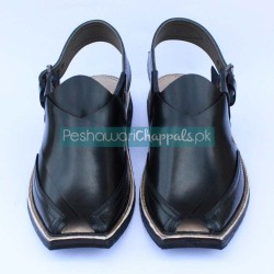 Ebony Black Chand Cut Peshawari Chappal
