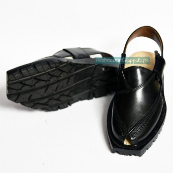 Jet Black Quetta Norozi Chappal with Double Sole