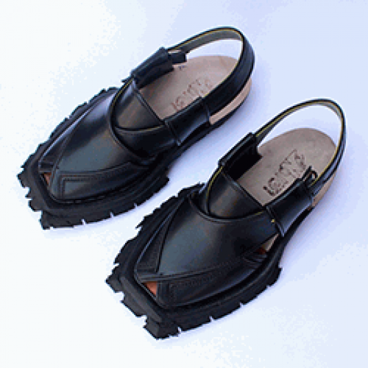 Traditional Black Shikari Quetta Chappal with Double Sole
