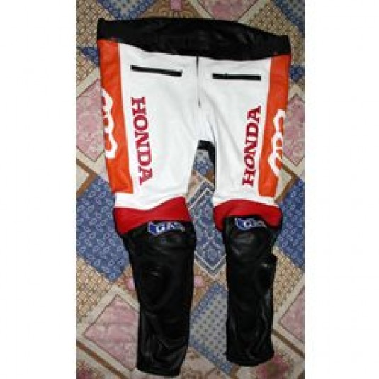 Honda CBR Real Cowhide Leather Motorcycle Biker Pants Trouser